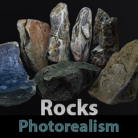 All assets are created on the basis of high quality photo scans of real objects. Pack includes 10 stones, 4k textures and LODs setup