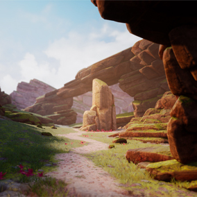 This pack includes a series of hand sculpted rocks, blending meshes and small foliage assets. It also includes terrain textures and materials.