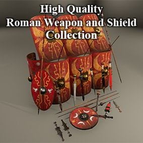 Pack contains 5 Gladius Sword, 3 Spatha Sword, 6 Pugio Knifes( 13 Sheath for edged weapons ), 2 Hasta Spear, 3 Pilum Spear,  3 Shield