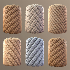 The package consists of 5 kinds of rope, materials have a texture map ( Base Color, Normal, Roughness, Height, Ambient Occlusion )