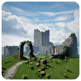 Modular, universal Stone Ruins from which you can create buildings such as abandoned medieval castles, ancient fortresses, fantastic structures and other types of buildings. Prepared for games and other projects.