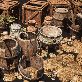 What you are getting is a pack of different treasure prop assets (32 total) Models have built in colliders, LODs. Every model have base color, metallic, roughness and occlusion maps. Assets are built with AAA quality and budget.