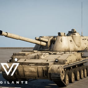 The Vigilante M-1973 152-mm Akatsiya (SPA) is fitted with a 152 mm gun and uses a modified tracked chassis, includes desert and forest textures, and is fully rigged.