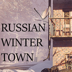 Modular winter-themed environment with buildings, nature, interiors, props, and furniture.