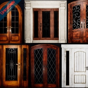 10 Doors for interior and exterior designs, Old and new version materials.