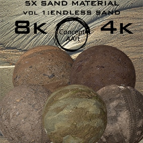 5 Super Realistic Sand Materials for all platforms. All Textures have their own 8K,4K,2K and 1K version and ready for every kind of project.