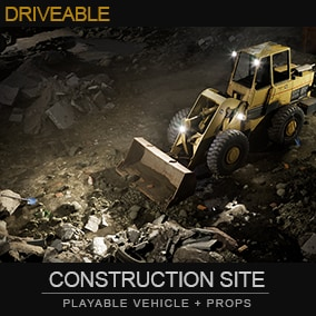Construction site environment with driving Loader vehicle. Moving parts of the front-end loader, the movement of which deforms the landscape.
