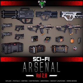 A set of more than 17 high-quality Sci-fi Weapons and Crates for your next Next-Gen shooter games - Rifles, Pistols, Rocket Launcher, Grenades, Ammo Crates, Ammo Boxes, Containers. Including Animations
