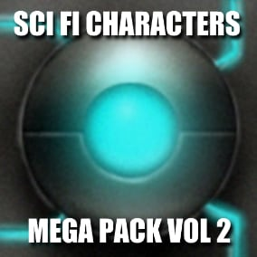 Sci Fi Characters MEga Pack Volume 2 rings to the table some amazing gigantic bosses for some epic battles, new robots, droids and mechs as well as humanoid aliens.