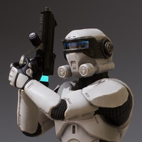 ***Included inside Sci Fi Characters Mega Pack Vol 2*** Here is the Elite Trooper. This Sci Fi soldier will be a perfect fit for any in need of a standard shooter enemy.