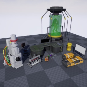 Collection of SCIFI Laboratory Props