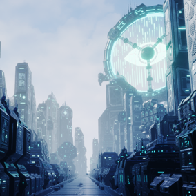 A Machine-made futuristic city. It has various mechanical buildings with 45 different shapes of meshes.