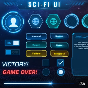 This is a sci-fi package which contains many useful UI elements for PC and Mobile.