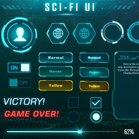 Rich variety of sci-fi UI package, color of ocean green, suitable for various sci-fi games, VR and simulation projects, etc