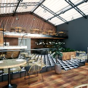 Interior restaurant scene for Unreal Engine