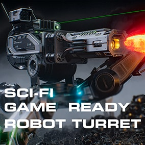 Low poly game ready Sci-Fi Robot Turret with animations, particles and sound effects.