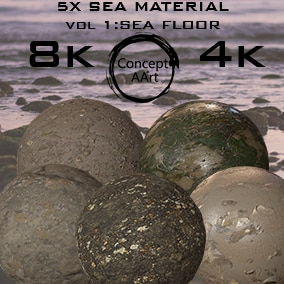 Sea Floor Materials for all platforms. All Textures have their own 8K,4K,2K and 1K version and ready for every kind of project.