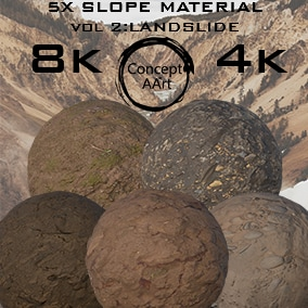 5 AAA Quality Slope Materials for all platforms. All Textures have their own 8K,4K,2K and 1K version and ready for every kind of project.