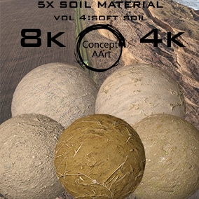 5 Super Realistic Soil Materials for all platforms. All Textures have their own 8K,4K,2K and 1K version and ready for every kind of project.