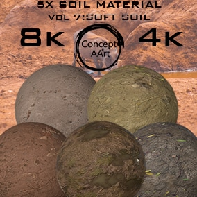 5 AAA Quality Soil Materials for all platforms. All Textures have their own 8K,4K,2K and 1K version and ready for every kind of project.
