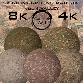 5 Super Realistic Stony Ground Materials for all platforms. All Textures have their own 8K,4K,2K and 1K version and ready for every kind of project.
