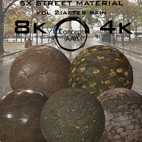 5 AAA quality Street Materials for all platforms. All Textures have their own 8K,4K,2K and 1K version and ready for every kind of project.