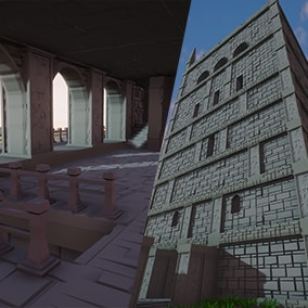 An environment with modular architecture in lowpoly style.