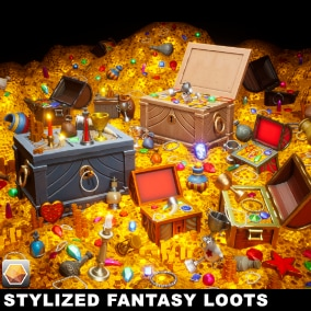 PolyArt3D presents - Stylized Fantasy Loots Pack, Ready to use for your next game!