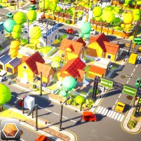 PolyArt3D presents -  Stylized Town!