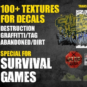 100+ Survival/post apocalyptic texture set to add more realism on your project's environment.