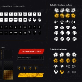 Fully Customizable Vector Styled icons for survival projetcs PSD