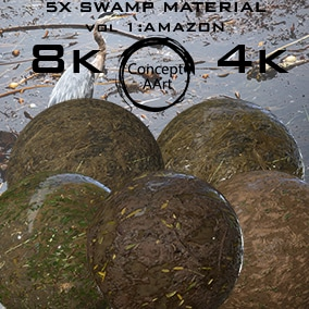 5 Super Realistic Swamp Materials for all platforms. All Textures have their own 8K,4K,2K and 1K version and ready for every kind of project.