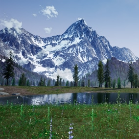 A large Swiss grassland scene with snowy mountains of Alpine on the background (grass field landscape enviroment terrain map for RPG FPS)