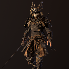 Samurai, low poly asset