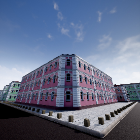 An old building based on photogrammetry and designed for modular workflow. This scene includes more than 40 modular assets, Blueprints for roads and different material sets