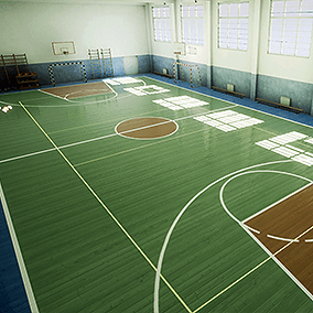 School Gym interior for desktop, mobile and VR games