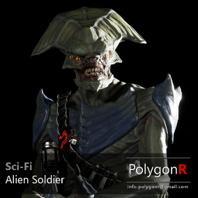 Sci Fi Alien Soldier rigged for the Epic Skeleton