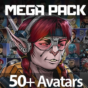 56 premium quality hand drawn Sci-Fi Character Avatars, ideal for 2D games, RPG games, cards games or visual novels.