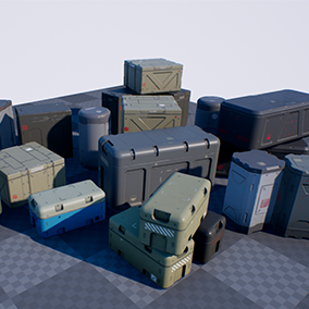 8 High-quality and completely customizable crates with PBR materials.
