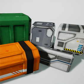 This is a collection of 5 scifi crates. Each crate comes with a normal map, color map, and specular map.