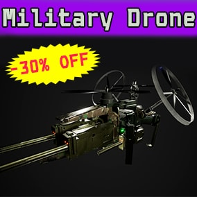 Introducing a sky-fi drone with guns, controls and animations!