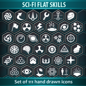 Set of 111 Sci-Fi Flat Skills icons.