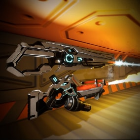 A pair of heavy sci fi energy weapons with effects and animations intergrated