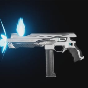 A pair of caseless pulse weapons with effects and animations integrated into their actor BPs