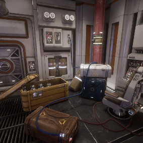 Retro style Sci Fi Interior Props, chairs, crates, modular pipes and cables.