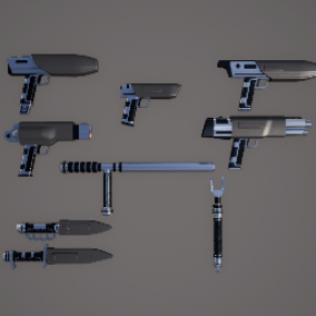 High Quality Sci Fi Light Weapons with Morphs