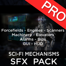 The  sci-fi mechanisms sound effects pack features 106 high quality science fiction force fields, engines, elevators, scanners, machinery, alarms bips, GUI and HUD sounds. Perfect for your futuristic game!
