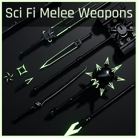 Contains 10 cool cyberpunk/sci fi melee weapons to wreak havoc!
