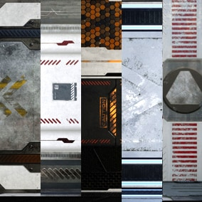 5 PBR Sci-fi panel Materials for all platforms. All Textures have 4K,2K 1K and 512 version and ready for your Projects