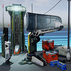 Asset contains pack of props models intended to decorate sci-fi locations.